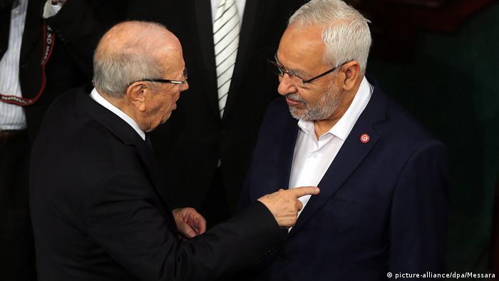 Essebsi und Ghannouchi sprechen im Parlament (picture-alliance/dpa/Messara)