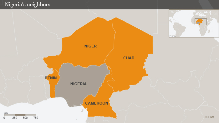 Map of Nigeria and its neighbors