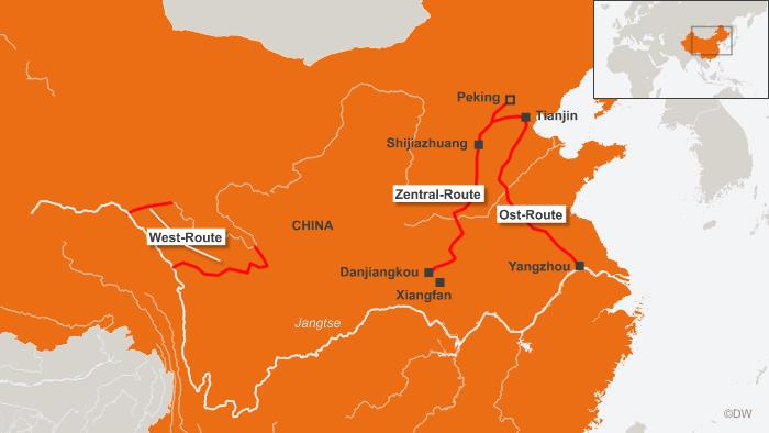 Karte mit den aufgezeichneten Wegen für das Wasserumleitungsprojekt (Quelle: DW)