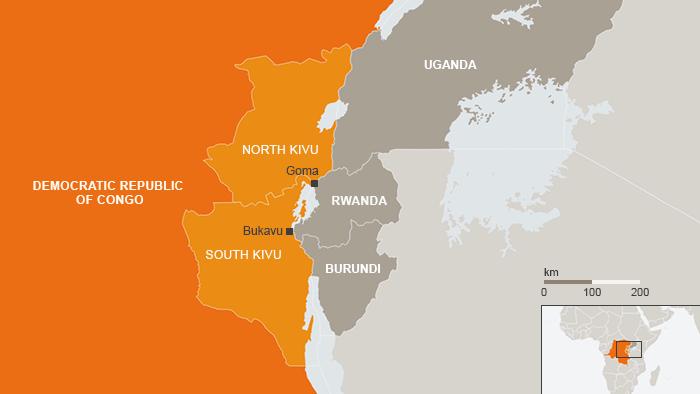 Karte DR Kongo Nord-Kivu Süd-Kivu Goma Bukavu eng