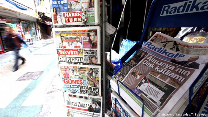 Newspapers at a Turkish newspaper stand