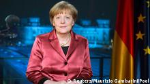 ***ACHTUNG SPERRFRIST BIS 31.1.14*** ATTENTION EDITORS ONLINE EMBARGO TILL 31.12.2014 00:01 CET German Chancellor Angela Merkel poses after recording her New Year's speech in the Chancellery in Berlin, December 30, 2014. REUTERS/Maurizio Gambarini/Pool (GERMANY - Tags: POLITICS) TEMPLATE OUT