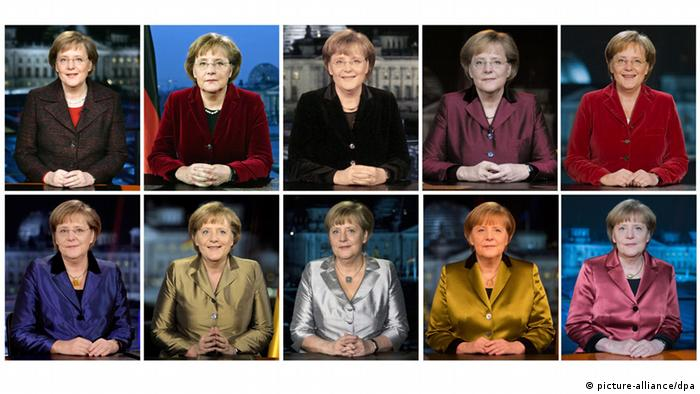 Angela Merkel New Year's address from 2005-2014 (picture-alliance/dpa)