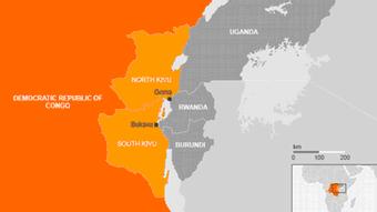 Karte DR Kongo Nord-Kivu Süd-Kivu Goma Bukavu englisch