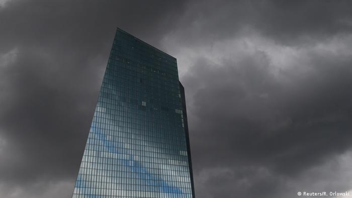 Dark clouds over the ECB building in Frankfurt, Germany