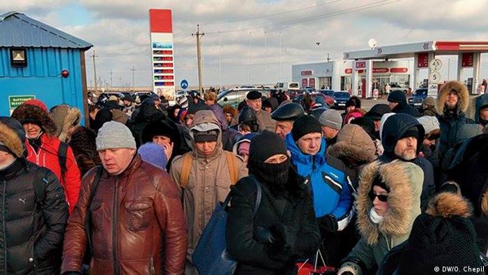 Черга на українському прикордонному пункту пропуску на півострові Чонгар