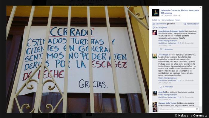 Eisdiele Coromoto aus Venezuela (Facebook-Screenshot)