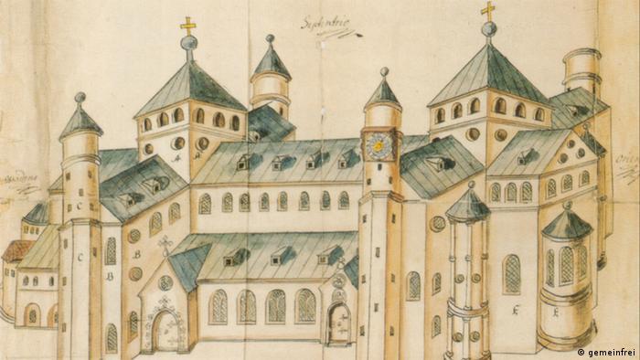 Церковь Святого Михаила в Хильдесхайме на рисунке 1662 года