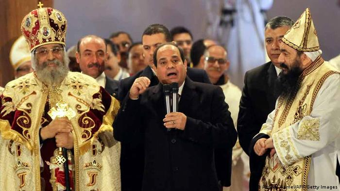 Ägypten al Sisi in koptischer Kirche in Kairo 7. Januar 2015