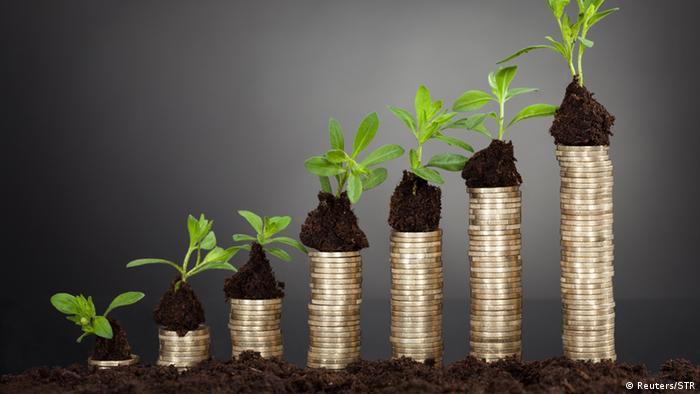 Столбики из монет с зелеными ростками, символизирующие экономический рост
