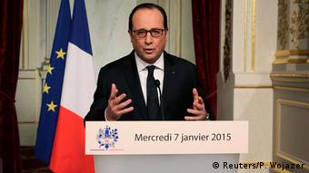 President Hollande speaking after the attack on Charlie Hebdo in Paris