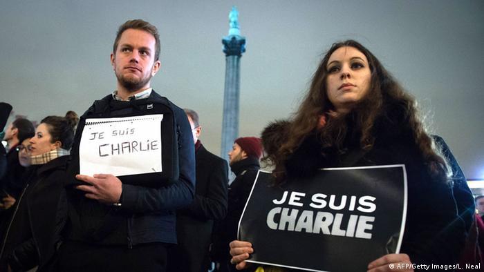 Trauer nach Anschlag auf Charlie Hebdo - Solidaritätsveranstaltung in London