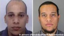 epa04550283 Two undated handout pictures released by French Police in Paris early 08 January 2015 show Cherif Kouachi, 32, (L) and his brother Said Kouachi, 34, (R) suspected in connection with the shooting attack at the satirical French magazine Charlie Hebdo headquarters in Paris, France, 07 January 2015. French police on 08 January 2015 released an appeal to the public for information, with photos of Cherif Kouachi and his brother, Said Kouachi. EPA/FRENCH POLICE / HANDOUT MANDATORY CREDIT HANDOUT EDITORIAL USE ONLY/NO SALES +++(c) dpa - Bildfunk+++