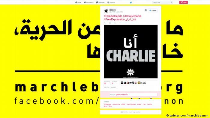 Paris Anschlag auf Charlie Hebdo - Solidarität Twitter Libanon