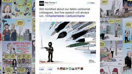 Anschlag auf Charlie Hebdo - Reaktion Twitter Karrikatur von Rob Tornoe (Screenshot)