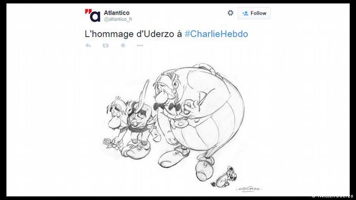 Terrorist attack against Charlie Hebdo - Reaction Twitter drawing by Uderzo (Screenshot) (Twitter/Uderzo)
