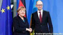 Symbolbild Ukraine - Milliardenhilfen zugesagt Jazenjuk und Merkel