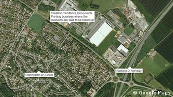 Karte Dammartin-en-Goele Terror Jagd Druckerei Geiseln