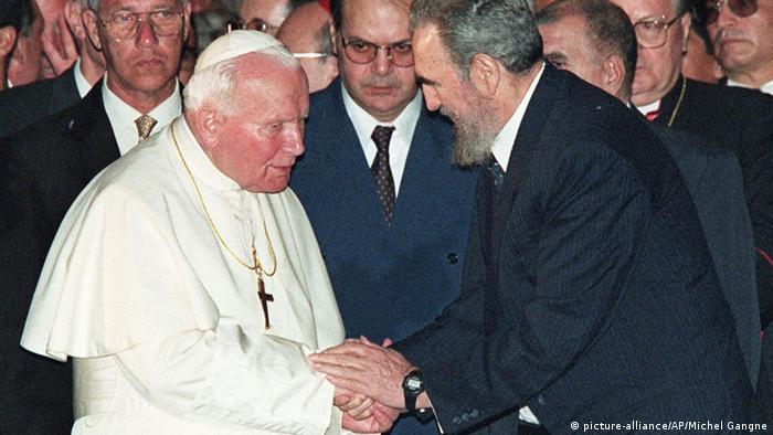 Fidel Castro e papa João Paulo 2 em Cuba