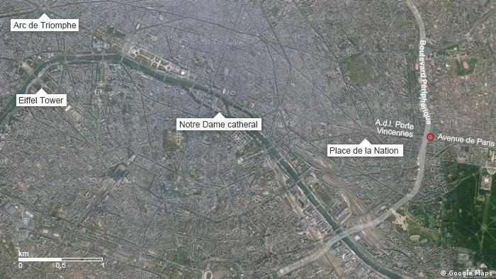 Karte Geiselnahme Paris, Vincennes, Kosher supermarket englisch