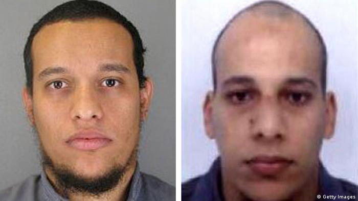 Pictured in this composite of handout photos provided by the Direction centrale de la Police judiciaire on January 8, 2015 are suspect Said Kouachi, aged 34, (L) and suspect Cherif Kouachi, aged 32, who are both wanted in connection with an attack at the satirical weekly Charlie Hebdo.