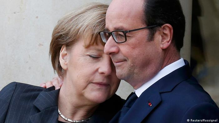 Merkel und Hollande in Paris 11.1.2015
