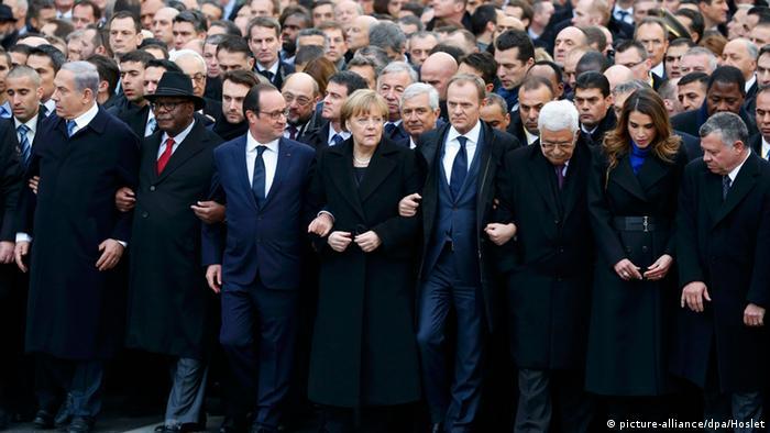 حضور سیاستمداران جهان در راهپیمایی پاریس