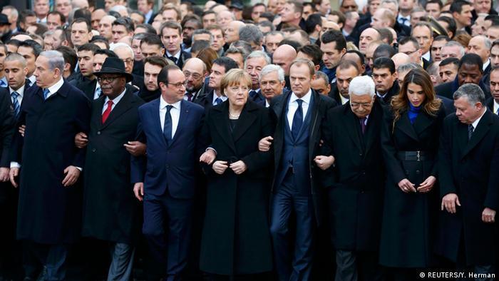 Líderes mundiais comandam marcha contra terrorismo em Paris
