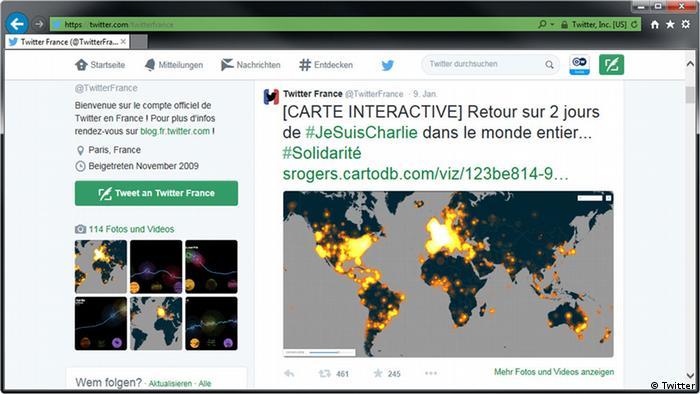 Übersichtskarte mit der Verbreitung des Hashtags #JeSuisCharlie auf Twitter - Foto: twitter.com/twitterfrance