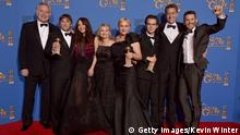 BEVERLY HILLS, CA - JANUARY 11: (L-R) Producer Jonathan Sehring, director Richard Linklater, actress Lorelei Linklater, producer Cathleen Sutherland, actors Patricia Arquette and Ellar Coltrane, producer John Sloss, and actor Ethan Hawke, winners of Best Motion Picture - Drama for 'Boyhood,' pose in the press room during the 72nd Annual Golden Globe Awards at The Beverly Hilton Hotel on January 11, 2015 in Beverly Hills, California. (Photo by Kevin Winter/Getty Images)