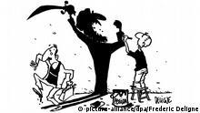 HANDOUT - Eine Karikatur des französischen Künstlers Frederic Deligne ist Teil einer Aktion von französischen und frankophonen Karikaturisten, die sich gegen die islamfeindliche Bewegung Pegida stellen. Illustration: Frederic Deligne (ACHTUNG: Nur zur redaktionellen Verwendung im Zusammenhang mit der Berichterstattung Französische Karikaturisten veröffentlichen Anti-Pegida-Flugblatt und der vollständigen Nennung der Quelle; no sales, no archive) +++(c) dpa - Bildfunk+++