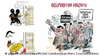 PEGIDA Karikatur Frankreich BILDKOMBO Michel Cambon links, Jean-Marc Couchet (Giemsi) rechts