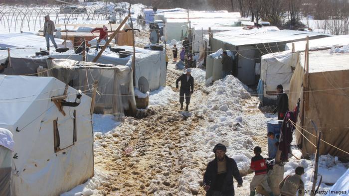 Wintereinbruch in einem syrischen Flüchtlingslager auf der Bekaa-Hochebene im Libanon.