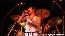 5th June 1982: Freddie Mercury (1946 - 1991), lead singer of 70s hard rock quartet Queen, in concert in Milton Keynes. (Photo by Hulton Archive/Getty Images)