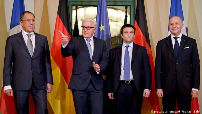 Steinmeier and the foreign ministers of Russia, Ukraine and France. (Photo: AP Photo/Michael Sohn, pool)