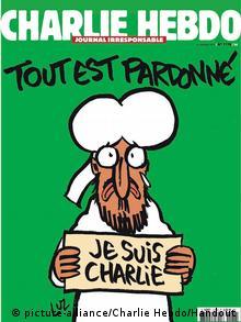 Capa da primeira edição após o ataque contra o semanário Charlie Hebdo mostra o profeta Maomé segurando um cartaz onde se lê: Je suis Charlie