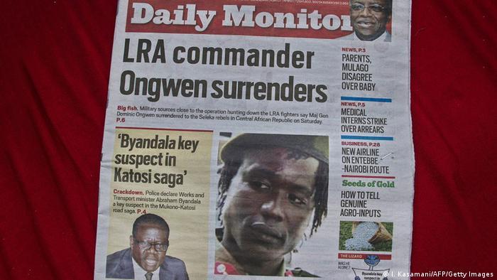 Titelseite der Tageszeitung Daily Monitor nach der Verhaftung Ongwens 07.01.2015