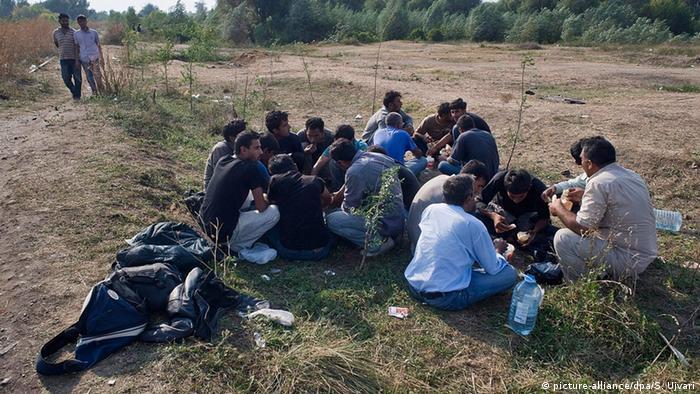 Flüchtlinge an der Grenze zwischen Serbien und Ungarn (Foto: dpa)