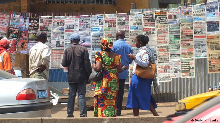 Newspapers displayed in a street of Yaounde