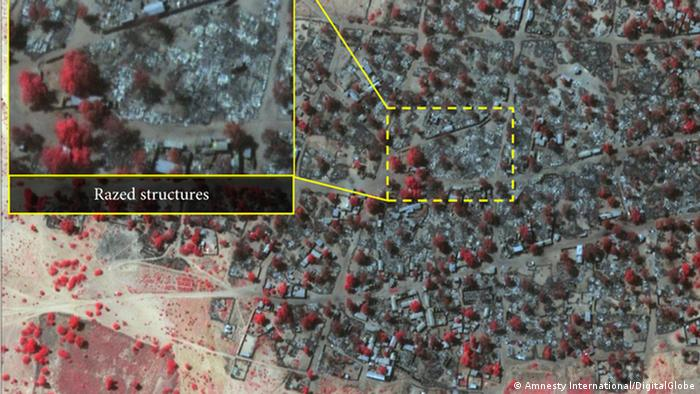 Von Amnesty veröffentlichtes Satellitenbild zur Zerstörung durch Boko Haram in Nigeria
