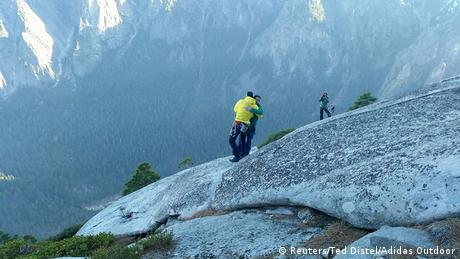 USA Bergsteiger Kevin Jorgeson und Tommy Caldwell am Durchsteigung der Dawn Wall am El Capitan