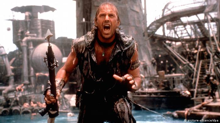 Movie still of Waterworld with Kevin Costner