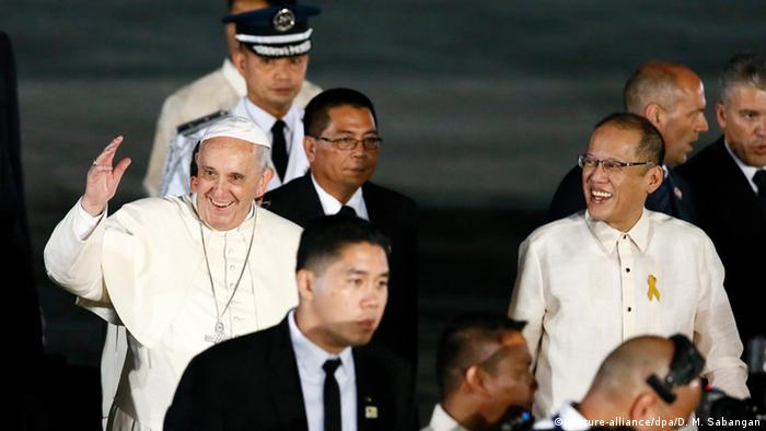 Papst Ankunft in Manila 15.01.2015