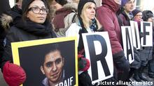 Ensaf Haidar. Ensaf Haidar, left, wife of blogger Raif Badawi, takes part in a rally for his freedom, Tuesday, January 13, 2015 in Montreal. Badawi was sentenced last year to 10 years in prison, 1,000 lashes and a fine of one million Saudi Arabian riyals (about $315,000 Cdn) for offences including creating an online forum for public debate and insulting Islam.THE CANADIAN PRESS/Ryan Remiorz URN:21952120