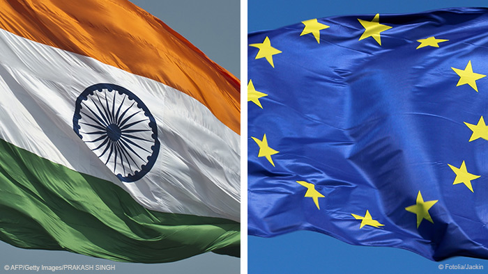 Indian and European Union flags.