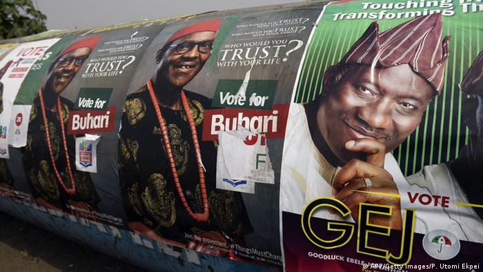 Election posters showing the main candidates, Muhammadu Buhari and Goodluck Jonathan