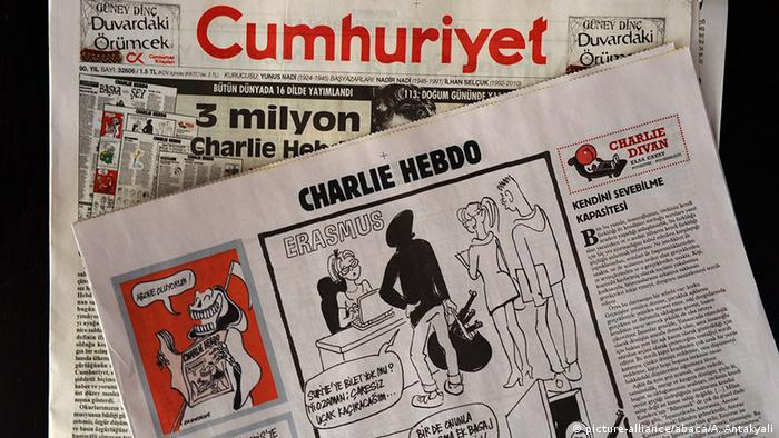 Cumhuriyet edition showing Charlie Hebdo caricatures, Copyright: picture-alliance/abaca/A. Antakyali