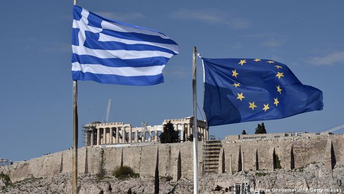 Greichenland und EU Flaggen