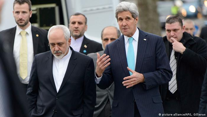 Kerry and Zarif walking and talking. (Photo: AP Photo/Keystone,Laurent Gillieron)