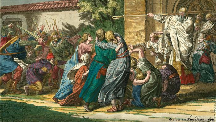Князь-епископ Иоганн I фон Крайхгау гарантирует евреям защиту в Шпайере. Рисунок XIX века